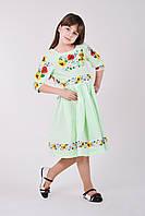 Льянное платье салатовое с модной цветочной вышевкой, фото 1