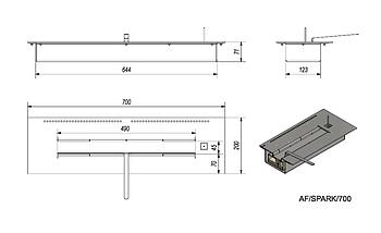 Горелка биокамина (топливный блок) длинная 700 мм, фото 2