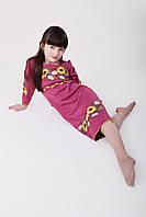 Детское вышитое платье в ромашки и подсолнухи