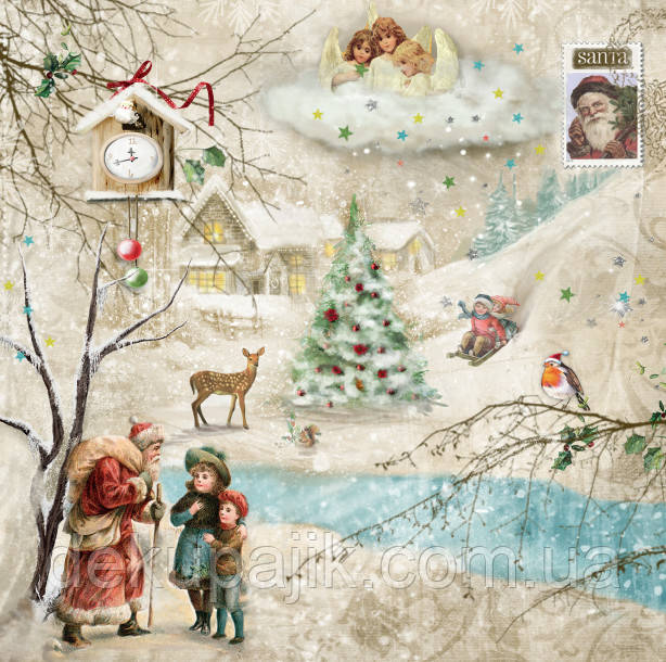 Декупажная салфетка Санта и дети 5858