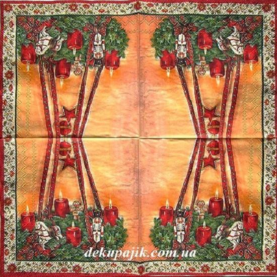 Декупажная салфетка Новогодняя композиция 5860