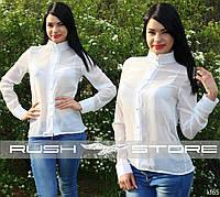 Шифоновая рубашка с длинным рукавом