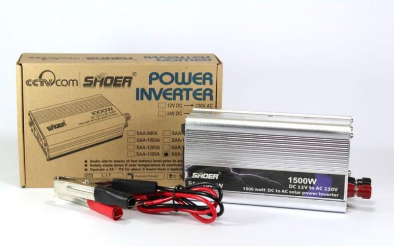 Автомобильный преобразователь напряжения 12V-230V 1500W  инвертор AC/DC SAA SHOER в коробке