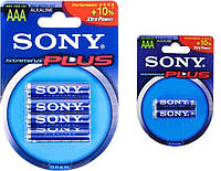 Батарейка Sony Plus LR03 ААА (2 и 4 шт., блистер, 2/40 и 4/80)