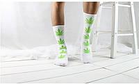 Носки HUF plantlife, белые с слатовым листом конопли Д35, фото 1