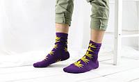 Носки HUF plantlife, фиолетовые с жёлтым листом конопли Д29, фото 1