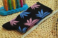 Носки HUF plantlife, чёрные с разнацветным листом конопли Д19, фото 1