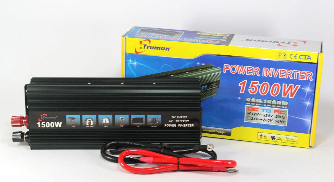Автомобильный преобразователь напряжения 12V-220V 1500W авто инвертор SSK TRUMAN в коробке