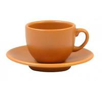 Чашка+блюдце 95мл для кофе Теракота керамика 24225