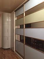 Радиусный шкаф купе, белый, стекло,