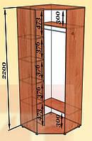 Шкаф угловой однодверный 950х950 высота 2200 мм