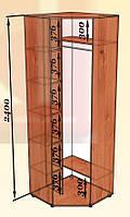 Шкаф угловой однодверный 800х800 высота 2400 мм