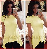 """Блузка Летняя """"Асимметрия"""" с фалдами цвет жёлтый"""
