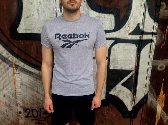 Reebok футболка серая, мужская, фото 2