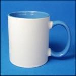 Кружка керамическая для сублимации цветная с цветной ручкой и внутри ( цвет голубой )
