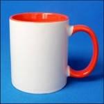 Кружка керамическая для сублимации цветная с цветной ручкой и внутри ( цвет красный )