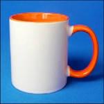 Кружка керамическая для сублимации цветная с цветной ручкой и внутри ( цвет оранжевый )