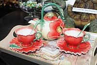 """Фарфоровый чайно-кофейный набор на 2 персоны """"Маки"""" итальянской фирмы Pavone"""