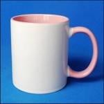 Кружка керамическая для сублимации цветная с цветной ручкой и внутри ( цвет розовый )