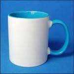 Кружка керамическая для сублимации цветная с цветной ручкой и внутри ( цвет светло-голубой )