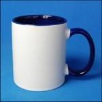 Кружка керамическая для сублимации цветная с цветной ручкой и внутри ( цвет синий )