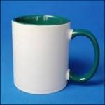 Кружка керамическая для сублимации цветная с цветной ручкой и внутри ( цвет темно-зеленый )