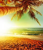 """Фотообои """"Рассвет на море"""", Фактурная текстура (холст, иней, декоративная штукатурка)"""