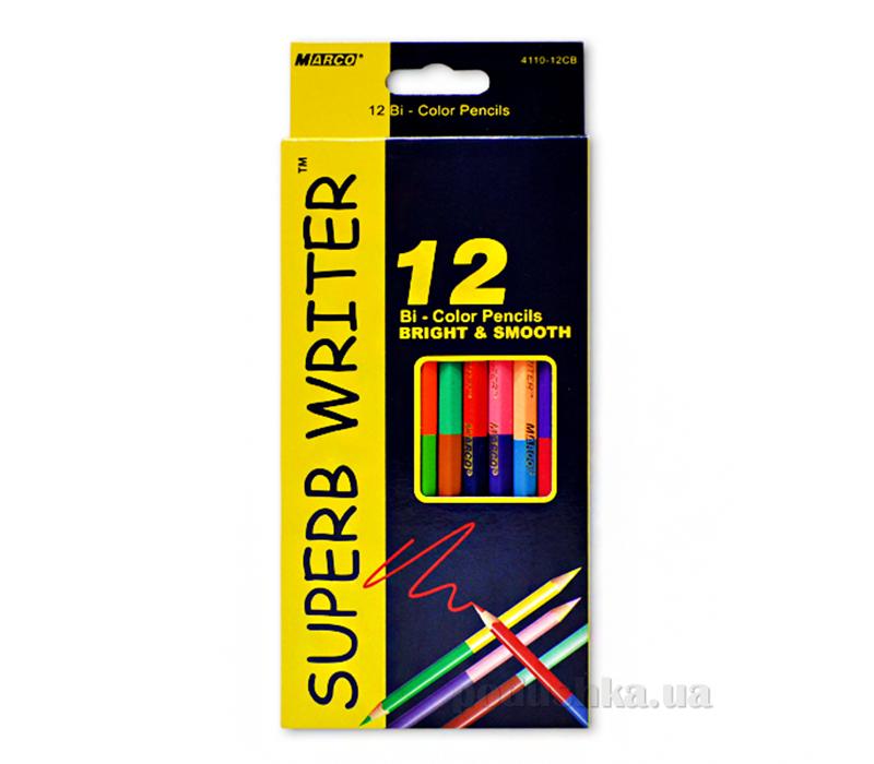 Карандаши цветные 12 / 24 цвета 2-х сторонние SUPERB WRITER Marco №4110-12CB