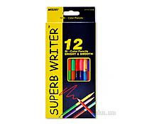 "Карандаши цветные 12 карандашей, 24 цвета, 2-х сторонние ""SUPERB WRITER"" ""Marco"""