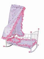 Кровать качалка для куклы железная детская с балдахином Melogo 9349