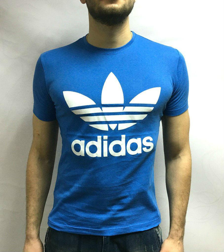 Adidas футболка синяя, большой принт