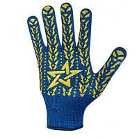 Перчатки рабочие синие с желтым ПВХ рисунком, + 7 класс ар.587