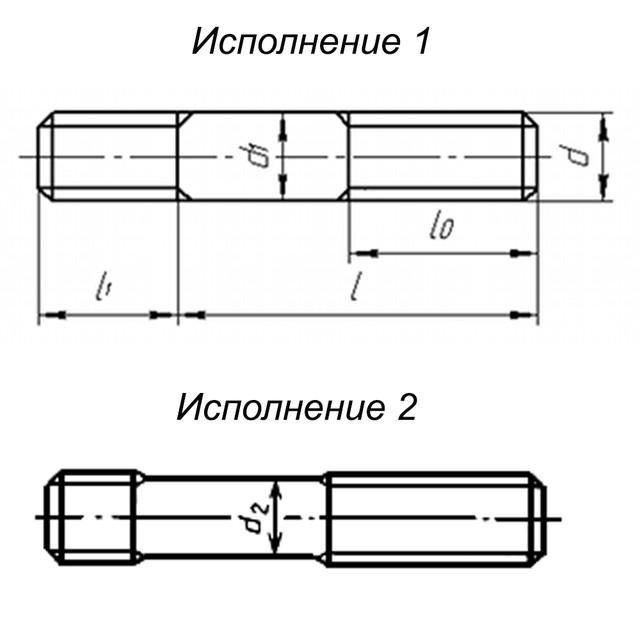 Чертеж шпильки ГОСТ 22038-76