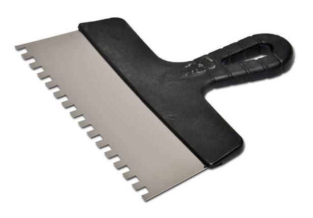 Шпатель нержавеющий с пластмассовой ручкой, 300мм, зуб 8х8 мм , фото 2
