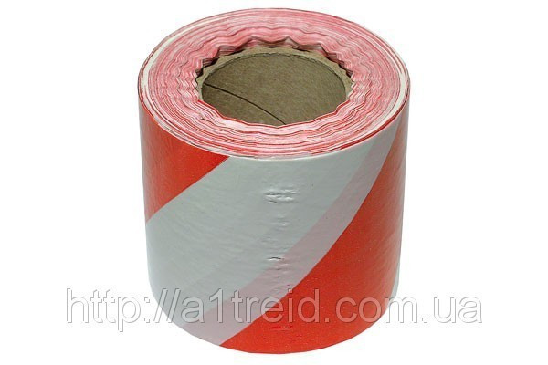 Лента сигнальная красно-белая 120мм х 100м