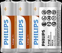 Батарейки Philips LongLife R06/AA (солевые) FOL4