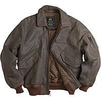 Оригинальная кожаная лётная куртка CWU 45/P Alpha Industries, США (коричневая)