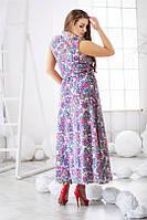 Платье Летнее принт светлая роза макси батал