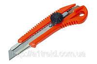 Нож с оборотным фиксатором упрочненный 18 мм.