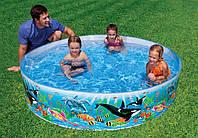 Детский каркасный бассейн Intex 58472 Коралловый риф, 244*46 см, устойчивый к UV-лучам винил