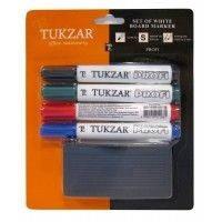 Маркеры в комплекте с губкой Tukzar для сухостираемых магнитно-маркерных досок 4 штуки в упаковке