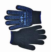 Перчатки вязанные черные с мелким вкраплением, L, (667), (Украина)