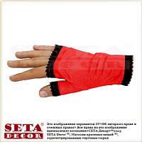 Красные перчатки-митенки с чёрной рюшей атласные короткие без пальчиков