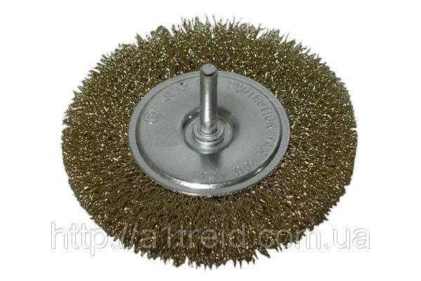 Щетка-крацовка диск., латунная со шпилькой, 100 мм , фото 2