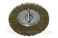Щетка-крацовка диск., латунная со шпилькой, 100 мм