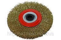 Щетка-крацовка утолщенная дисковая, латунная, 150х32мм
