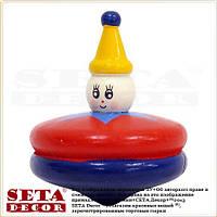 Деревянная игрушка Юла (Волчок) диаметр 5 см, красная с синим