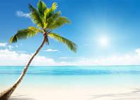 """Фотообои """"Пляж и солнце"""", Фактурная текстура (холст, иней, декоративная штукатурка)"""