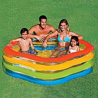 Оригинальный детский бассейн для дачи надувной 56495, 3 кольца, Летние краски, 185*180*53см, 466 л