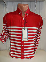 Рубашка мужская NEGRO длинный рукав, узкие полосы  002